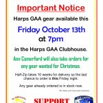Harps GAA Gear available this Friday at Clubhouse – October 13th 2017 🗓 🗺