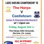 Harps Junior A Hurlers to face Castletown in the Championship – August 3rd 2018 🗓 🗺