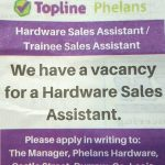 Hardware Sales Assistant Required – September 2018